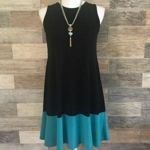 TIANA B. Black & Turquoise Petite Dress NWOT